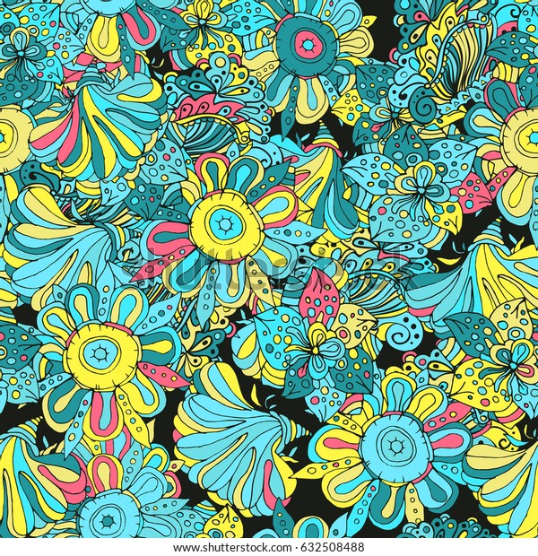 Floral bright seamless abstract pattern on black background, creative flowers in blossom, futuristic colorful and imaginary style. Vector illustration