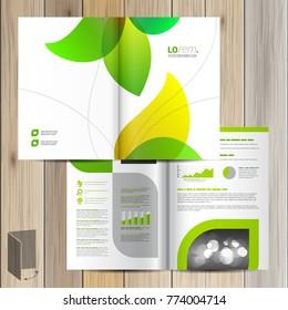 Blumenbroschüre Design mit grünen Blättern. Deckungslayout
