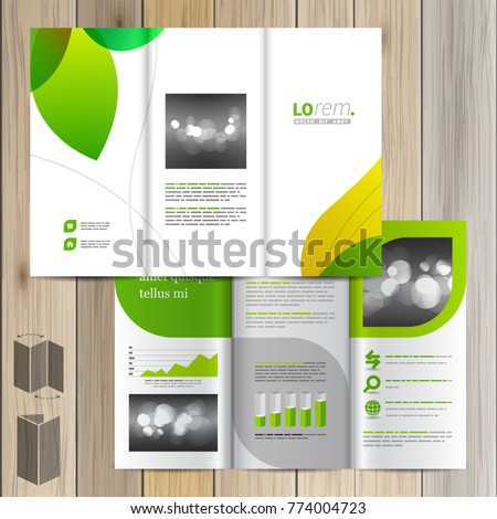 floral brochure template design green leaves のベクター画像素材