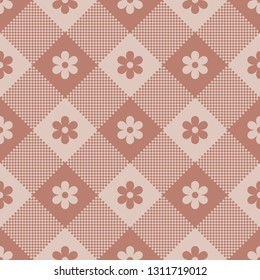 Floral buffalo check plaid pixel pattern in retro pink. Seamless gingham / vichy design for spring and summer fabrics,  scrapbooking, crafts, digital paper, wrapping, packaging. Diagonal stripes.