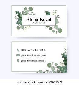 Floral business card design. Vintage rustic eucalyptus silver green, greenery, leaves frame pattern in modern style with frame. Complied with the standard size. Elegant delicate tender creative layout