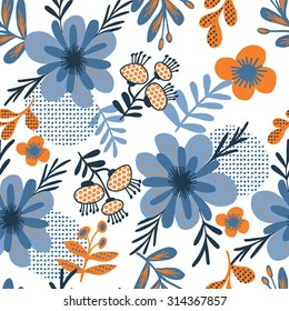Floral butterfly background, seamless pattern in blue  flowers.