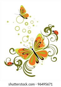 floral butterfly - vector