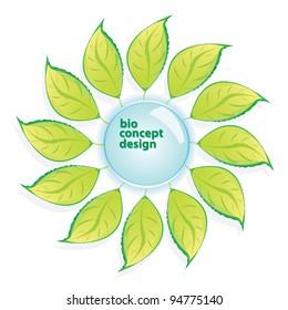 floral button. bio green vector concept.