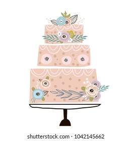 Floral cake with unusual flowers and branches on white background. It can be used for web banner,invitation,cards,apparel,home decor,fabric.Vector Illustration