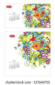 Floral calendar 2014, april. Design for two size of paper
