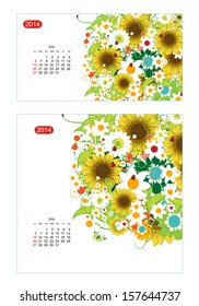 Floral calendar 2014, july. Design for two size of paper