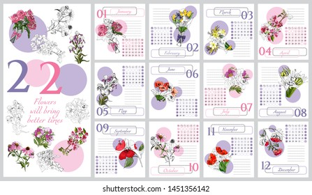 Floral calendar 2020 with hand drawn different flowers in sketch style. Monochrome and colored objects in pink and lilac circles. Vector illustration.