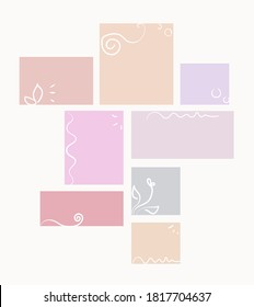 Floral calligraphy elements, rectangle shape pastel color mood board template. Elaborate calligraphic vector collage composition for spring style presentation and photo frame or sticky notes spacer