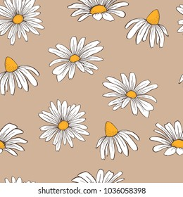 Floral camomile vintage seamless pattern on brown background in vector EPS8