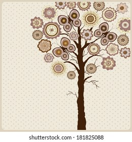 Floral card with abstract tree with flowers and butterflies