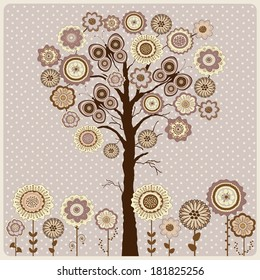 Floral card with abstract tree and flowers on mauve background with dos