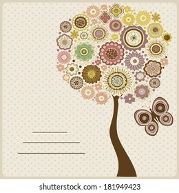 Floral card with abstract tree with flowers and butterfly