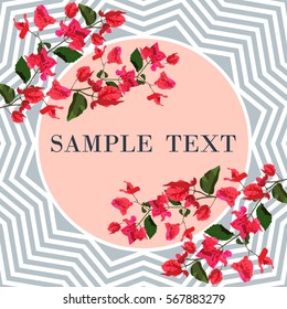 Floral card with bougainvillea flower vector illustration