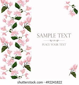 Floral card with bougainvillea vector illustration