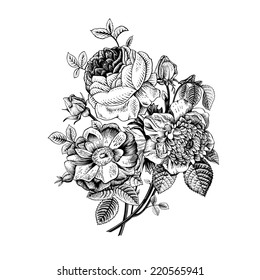 Floral card. Bouquet of roses, dog-rose and anemone. Vintage vector illustration. Classic. Black and white.