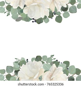 Floral card design with garden white, creamy peony, Rose flower, silver Eucalyptus thyme green leaves elegant greenery blue berry bouquet border, frame. Vector watercolor style elegant greenery layout