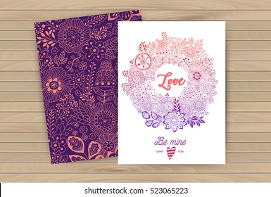 Floral card design, pattern and wreath flowers and leaf doodle elements. Illustration made of flowers and herbs. Vector decorative invitation. Spring elements. Floral doodles for Valentine's Day