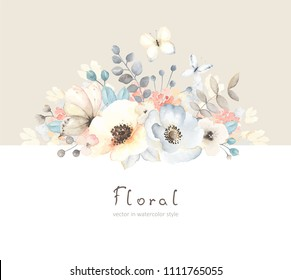 Floral card with flowers, leaves, branches and butterfies in vintage watercolor style. Holiday template for your text, vector illustration on beige and white background.