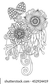 Floral card. Hand drawn artwork with abstract flowers. Background for web, printed media design. Mehendi henna tattoo doodle style. Banner, business card, flyer, invitation, greeting card, postcard.