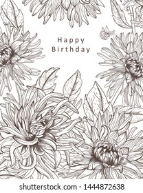 Floral card with isolated hand drawn flowers and leaves in sketch style. Line art big flowers design for cards, prints. Beautiful dahlias.