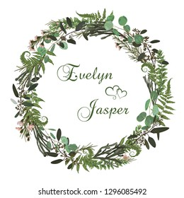 Floral card with leaves eucalyptus, brunia, fern and boxwood. Greenery round frame. Rustic style. For wedding, birthday, party, save the date. Vector illustration. watercolor style