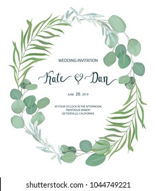 Floral card with leaves. Greenery frame.Rustic style. For wedding, birthday, party, save the date. Vector illustration. watercolor style