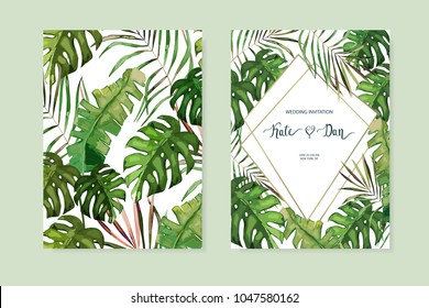 Floral card set. Wedding Invitation, save the date, rsvp, invite. Vector illustration. Celebration template. Watercolor style