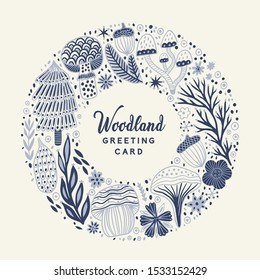 Floral card template circle frame. Floral greeting wreath card, blooming vector banner. Perfect for wedding invitations, greeting cards, blogs, prints and more