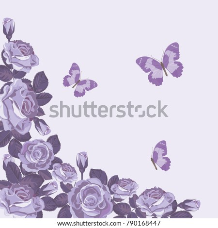 Floral Card Template Violet Roses Butterflies Stock Vector Royalty