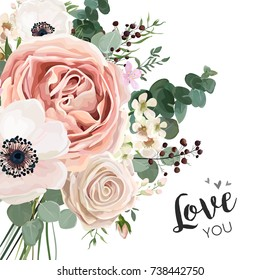 Floral card vector elegant Design with garden flower lavender pink peach Rose white wax, Anemone, green, blue Eucalyptus delicate greenery, berry bouquet print. Wedding invite template with copy space
