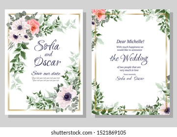Floral card for wedding invitations. White anemones, pink roses, eucalyptus, green plants.