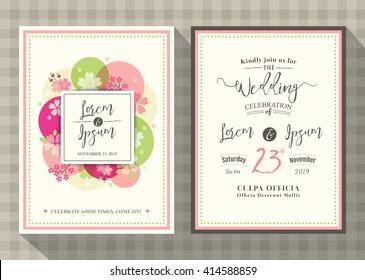 floral cherry blossom wedding invitation card design Template