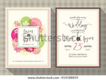 Floral Cherry Blossom Wedding Invitation Card Stock Vector Royalty