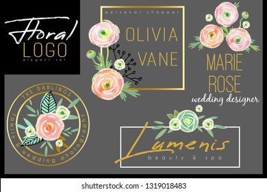 Floral chic logo template with watercolor ranunculus, roses