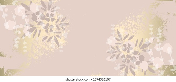 Floral chic NUDE PINK gold blush rustic background for social media, advertising, banner, invitation card, wedding, fashion header