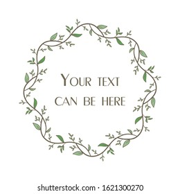 Floral circle frame. Design element for invitations, greeting cards, posters, blogs. Round frame with a place for text. Flowers, leaves, tree branches are arranged in a shape of a wreath.
