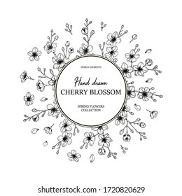 Floral circle frame with hand drawn spring cherry blossom in sketch style. Spring design for cards, banners, letters, invitations. Place for text