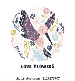 Floral circle with hummingbird . Childish print for nursery, kids apparel,poster, postcard. Vector Illustration