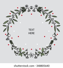 A floral circle ornament with fruits, bees, butterflies, flowers, leaves to put text inside, seasonal, december, xmas, message, white, red, green, black