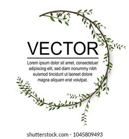 Floral circle vector card Design. Vector garden illustration.