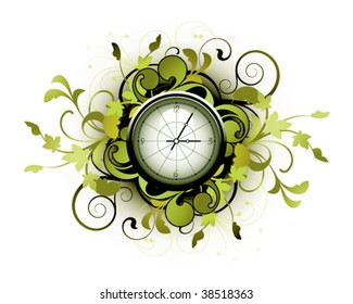 Floral clock with decorative elements