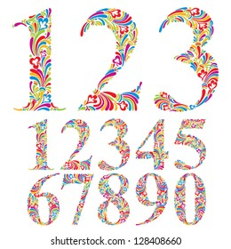 Floral colorful numbers set, vector typeface.