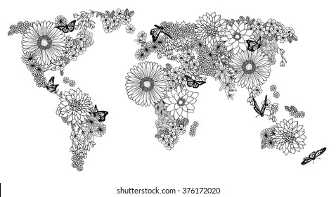 Floral coloring book world map, hand drawn, black and white