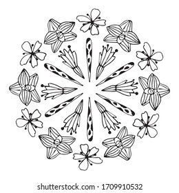 Floral coloring books for children and adults .Summer tropic blossom round frame in vector. Anti stress coloring page with small details.
