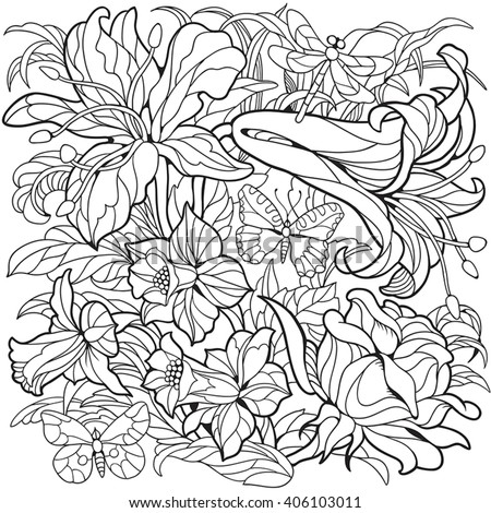 floral coloring page narcissus flower rose stock vector royalty