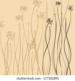 floral composition with fantastic flower, hand drawn vector illustration