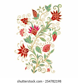 Floral composition with stylized red flowers of pomegranate, on white background