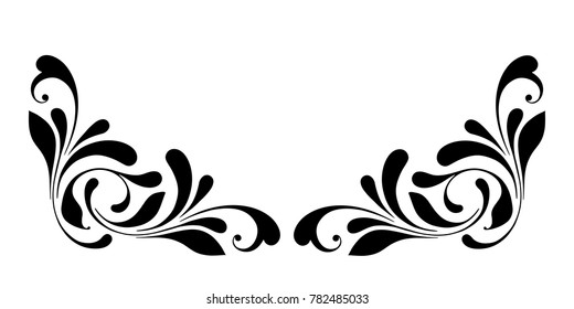 Floral corner border. Decorative design element for cover, card, banner, frame.