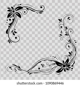 Floral corner design. Ornament black flowers on transparent background - vector stock. Decorative border with flowery elements, pattern. Wedding card with flourish swirl and circles.